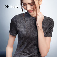 DHfinery summer sweet pink tight t-shirt women short sleeve solid color O-neck slim t shirt ladies casual Tops & Tees sg28606