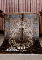 Mingxin Carpet 4x6 feet blue flower handknotted silk carpets double knot persian turkish silk carpets area rug tapete