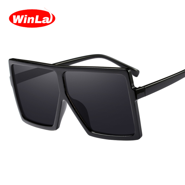 c892765183 Winla Fashion Design Sunglasses Women Oversized Square Frame Sun glasses  Female Stylish Mirror Gradient Oculos de sol WL1103