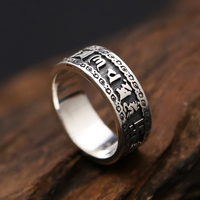 Solid Silver 925 Mens Ring Buddhist Tibetan Letters Band Gothic Punk Style Vintage Antique Silver 925