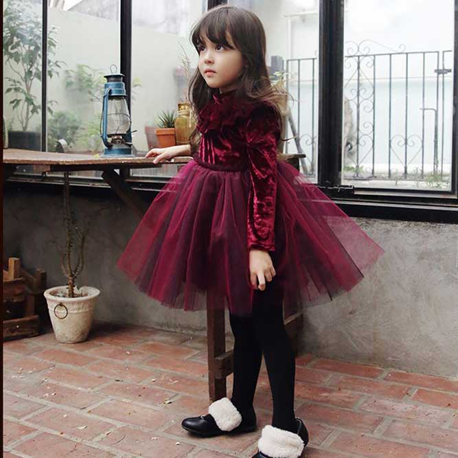 Everweekend Girls Fleece Velvet Tutu Princess Party Dress Vintage Ruffles Red and Champaign Color Christmas Holiday Dresses