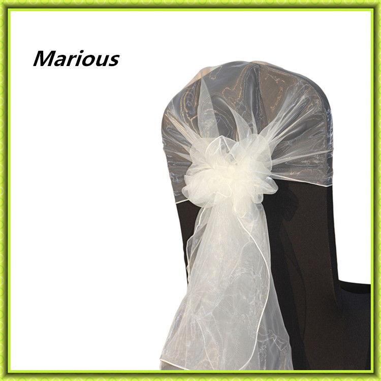 2015 new arrival factory price hot selling crystal 100pcs organza chair sashes chair hood for wedding