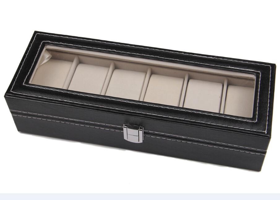 в наличии 6 сотовый кожа оконный чехол организатор дисплей хранения коробка наручные часы контейнер