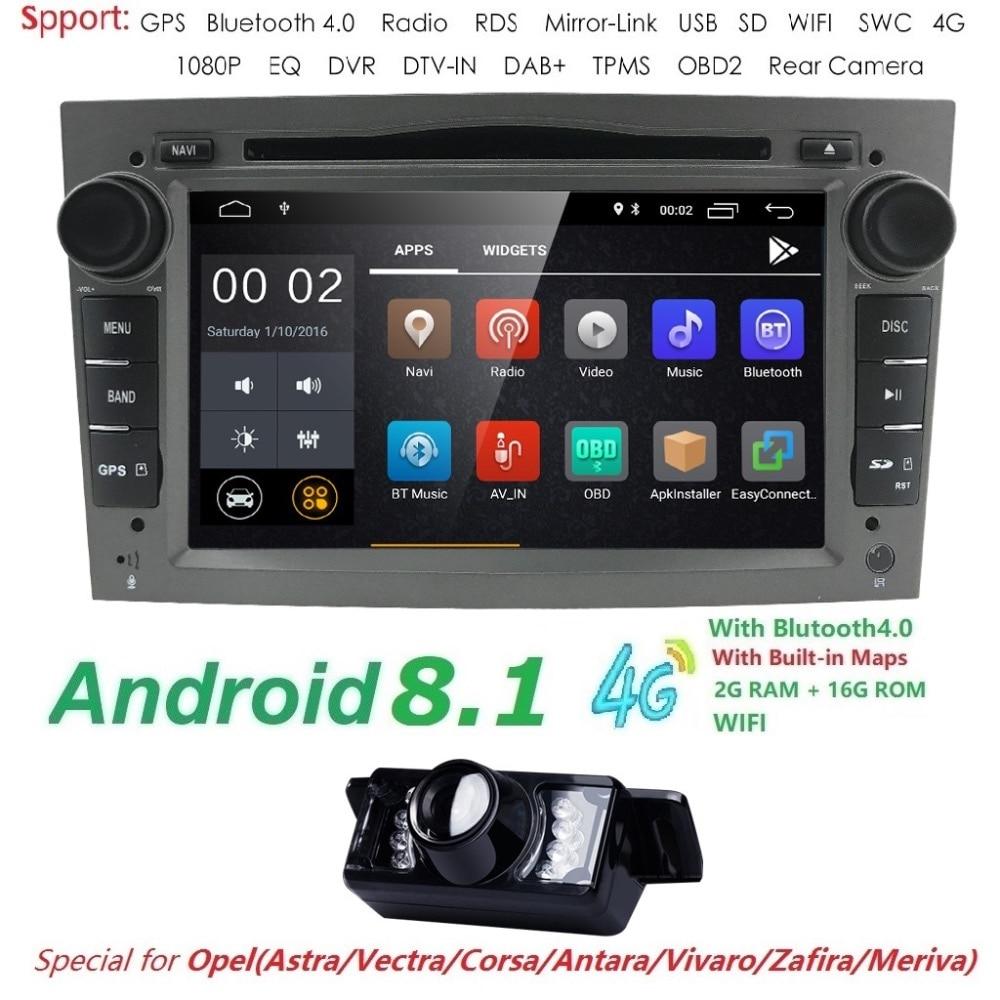 Android 8.1 Autoradio 2 Din dvd de voiture navigation gps pour Opel Astra H G J Antara vectra c b Vivaro astra H corsa c d zafira b Wifi