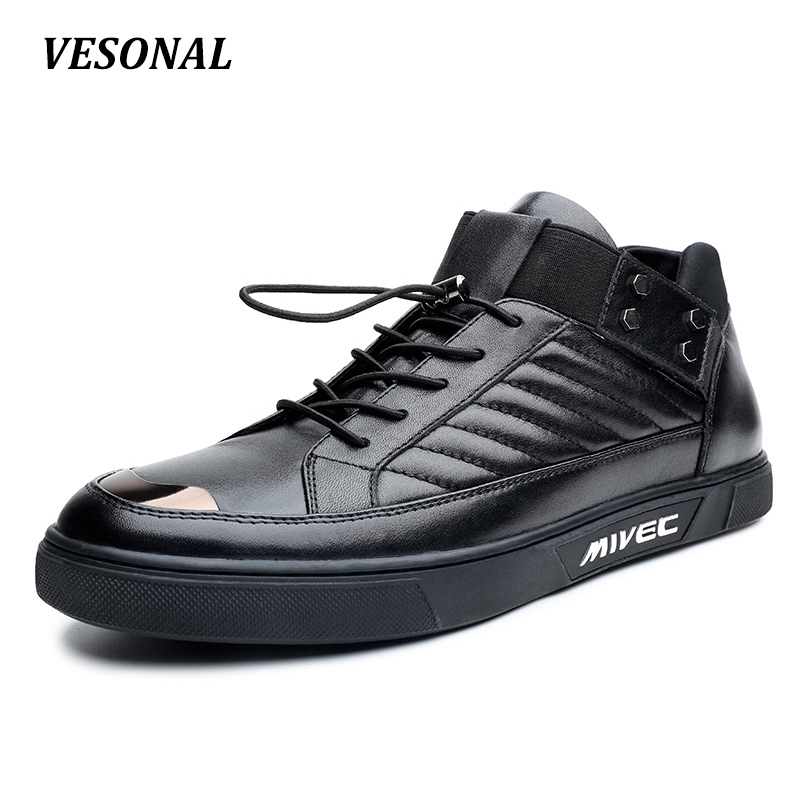 VESONAL British High Top Quality Luxury 100% Genuine Leather Men Shoes Fashion Patchwork Mens Shoes Casual Designer SD6200 vesonal 2017 top quality lycra outdoor ultralight slip on loafers men shoes fashion stripe mens shoes casual sd7005