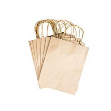 Elegant White Packaging Bags With Handle Kraft Paper Bag For Party Favors 12pcs