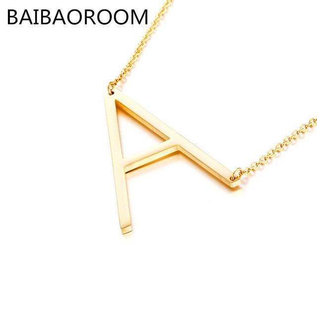 Fashion Letter Necklaces Pendants alphabet Gold Color Stainless Steel Choker Ini