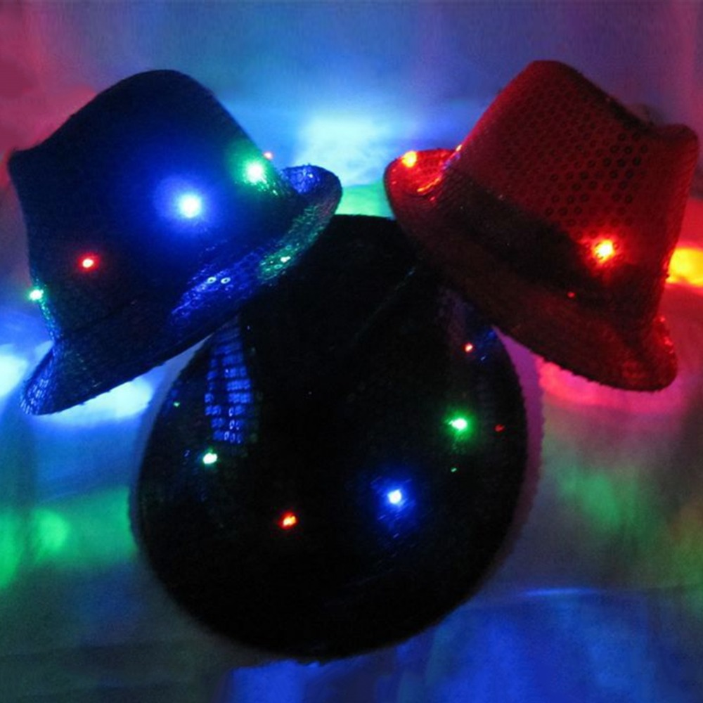 Buy Cheap Free Shipping Flashing Light Up Led Fedora Trilby Sequin Unisex Fancy Dress Dance Party Hat