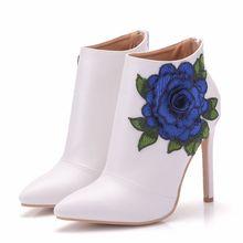 Big Size 35-41 Women High Heel Boots Fashion Flower Embroidery Ankle Autmn Elegant Wedding Shoes Footwear XY-A0157