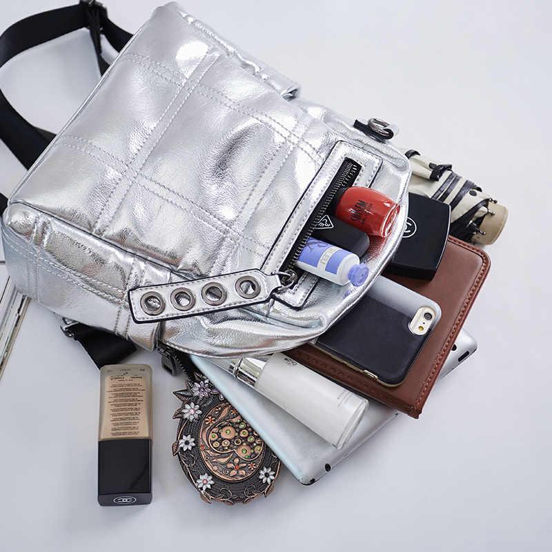 Серебряный мини-рюкзак женская сумка на плечо многоцелевой рюкзак для девочек маленький школьный рюкзак из искусственной кожи рюкзак для путешествия водонепроницаемый