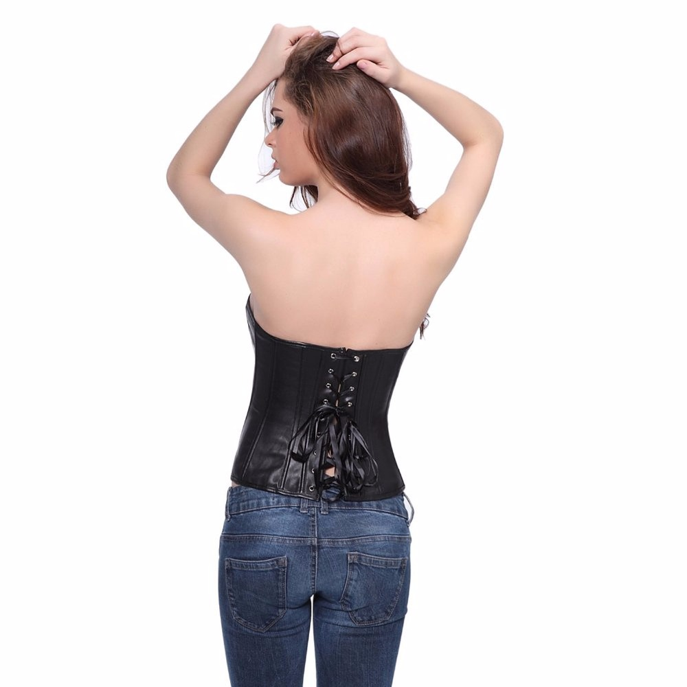 86281a0e575 6XL Corset Black PU Leather Corset Sexy PVC Corsets Women Waist Cincher  Trainer Overbust Bone Steampunk Top Shaper Plus Size-in Bustiers   Corsets  from ...
