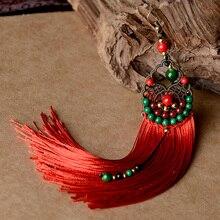 Висячие серьги с бахромой для женщин, длинные Цветные Висячие серьги с кисточкой из натурального камня и бронзового сплава, Винтажные Ювелирные изделия в этническом стиле