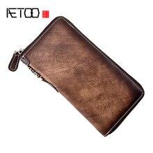Винтажный Мужской кошелек aetoo Длинная кожаная сумка на молнии