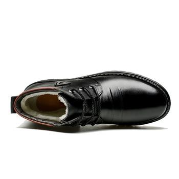 NPEZKGC Winter Men Ankle Boots Cotton Shoes Men Genuine Leather Round Head Business Casual Plush Warm High Top Shoes Male