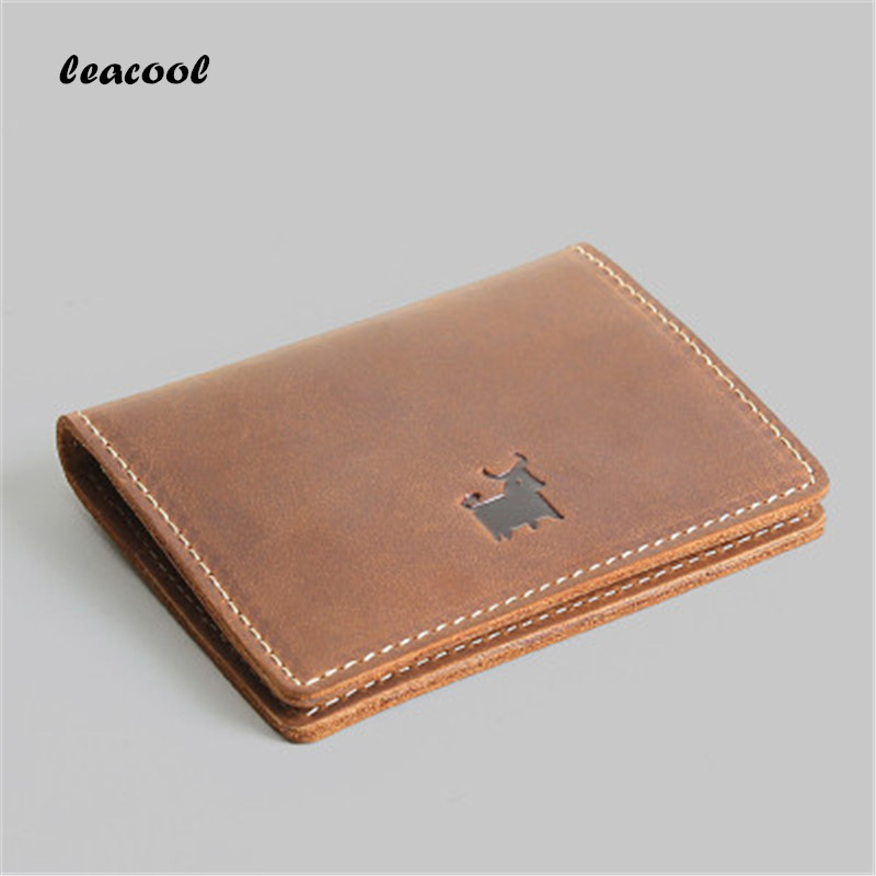 LEACOOL Credit Card Holder Airplane Genuine Leather Handmade Card Covers Travel Accessories Id Cards Case Brand Design