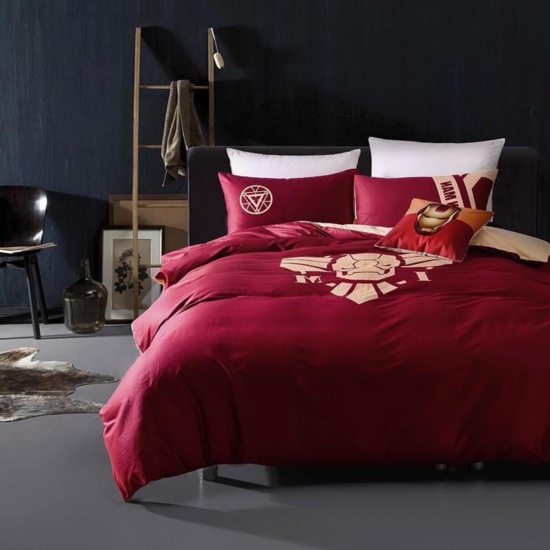 Avengers super héros 100% ensemble de literie en coton nuit-lumineux housse de couette reine taille drap de lit pour garçons/adulte lit couvre-lit en lin