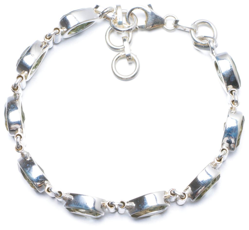 Natural Green Amethyst Handmade Unique 925 Sterling Silver Bracelet 6 3/4-7 1/2