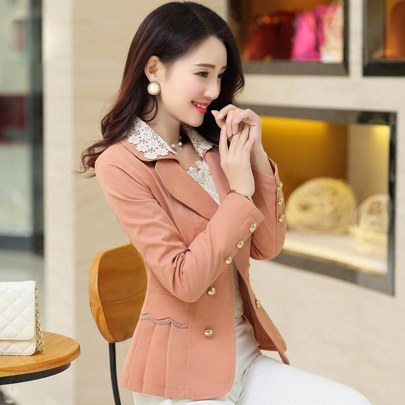 2019 Suit Jacket Women New Fashion Casual Short Blazer Women Suit Office Slim long sleeve double