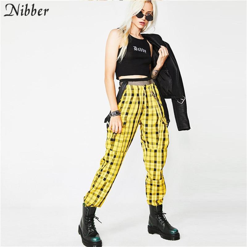 Nibber Ladies Trousers Casual Loose Version Harem Pants Popular Bib Retro Plaid High Waist Pants 2018 Autumn And Winter New