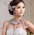 Vintage Роскошные Свадебные Ювелирные Изделия Длинное Ожерелье Кристалл Цепи Свадебный Плечевой Ремень Тела Ювелирные Цепи Аксессуары Для Женщин