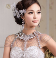Vintage Luxury Wedding Jewelry Long Crystal Necklace Chains Bridal Shoulder Strap Jewellery Body Chain Accessories For Women