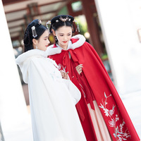 2018 Hanfu female assembly decoration chrysanthemum embroidery thick double sided wool red and white two color long poncho warm