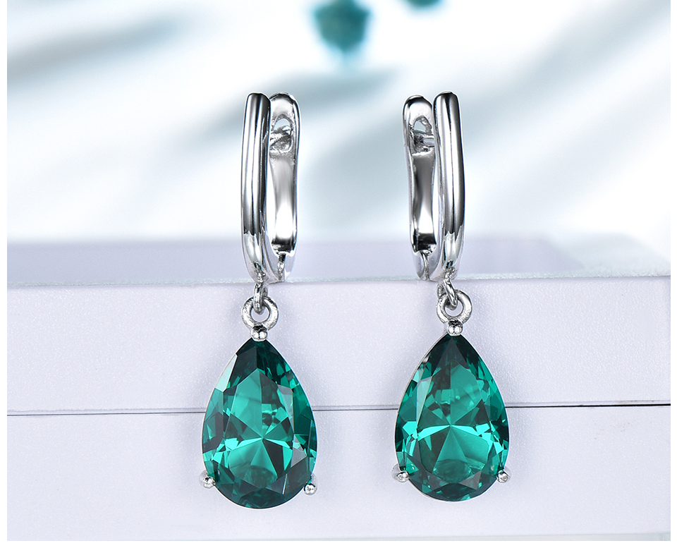 UMCHO ??Emerald 925 sterling silver earring for women EUJ094E-1-pc (5)