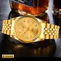Nuevo 2016 Hombres de Negocios hombres Del Reloj de Oro de Pulsera de Acero Inoxidable Relojes hombres Marca de Lujo Reloj resistente al agua reloj de los hombres relogio masculino
