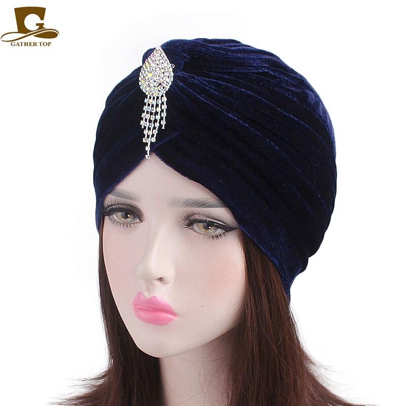 Elegant Ladies velvet Turban Shiny Gem Pendant brooch Muslim Hijab Ruffle Headwear Rhinestone Pin Turban Bandanas