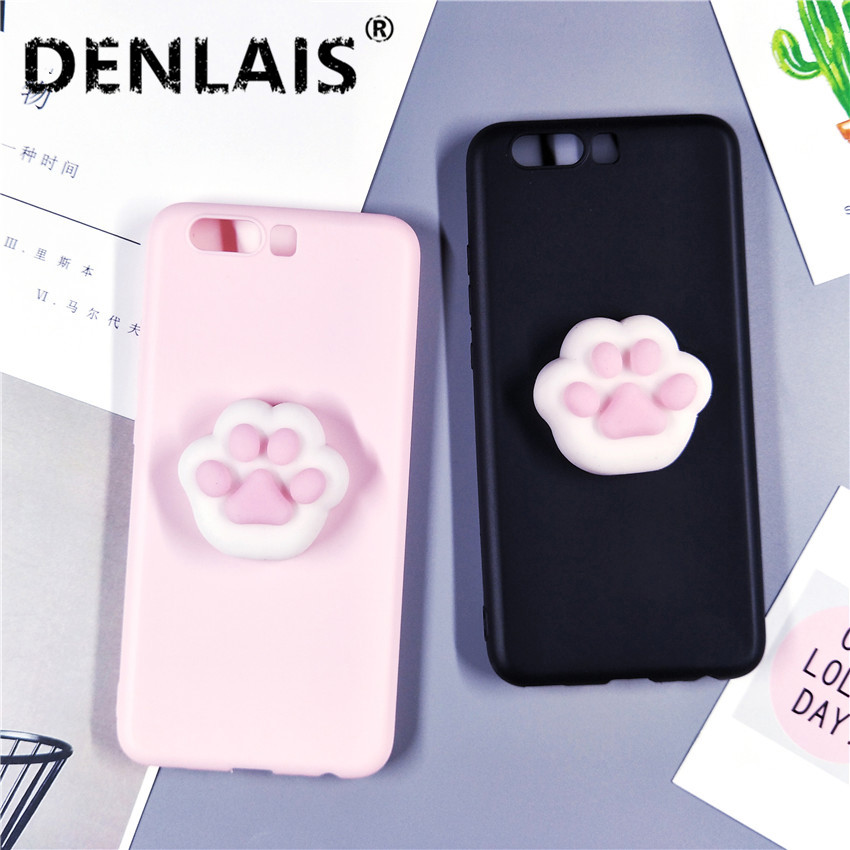 For Huawei P8 P9 Lite P9Plus Case Cute 3D Black Pink Silicon Squishy Cat Paw Soft <font><b>Phone</b></font> Cases For Huawei P10 P20 Lite Mate10 9