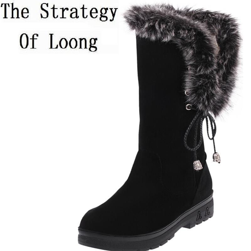 Women Winter Flats Chunky Heel Nubuck Leather Rabbit Fur Lace Up Round Toe Fashion Warm Casual Snow Boots Size 36-40 SXQ0811 women winter flats chunky heel genuine leather round toe embroidery fashion warm snow ankle boots size 34 39 sxq01005