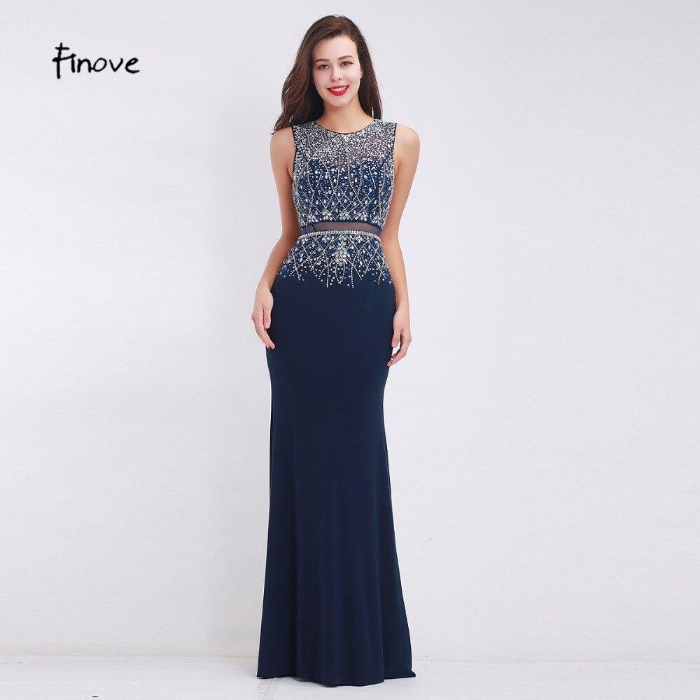 Finove Black Mermaid Prom Dresses O Neck Sleeve Beadings Prom Gowns Illusion Floor Length Vintage Graduation Party Dresses robe