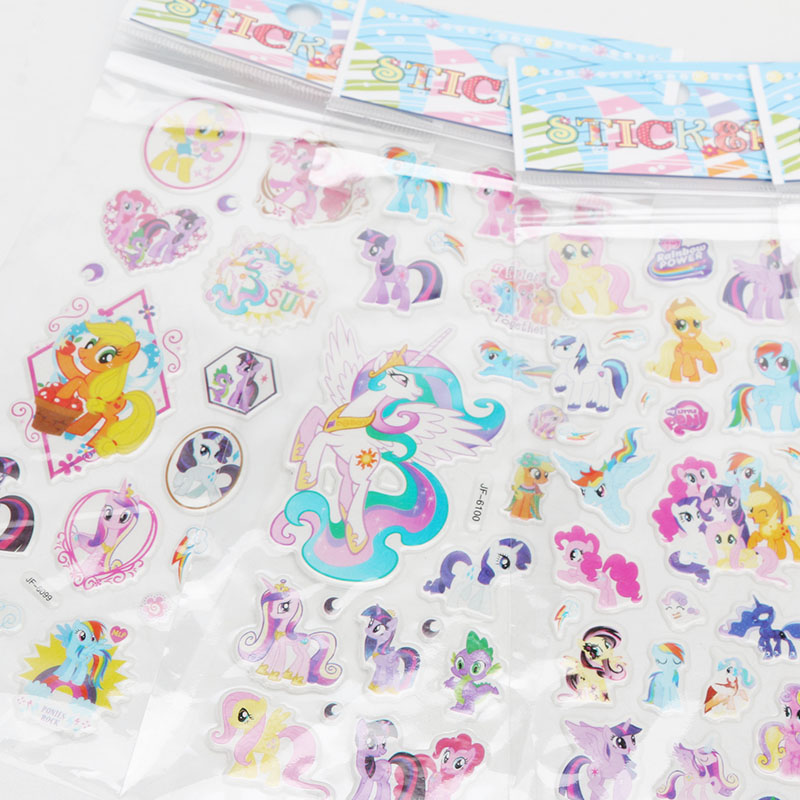 Image 3 - 2019 6pcs/set PVC Pony Stickers My Little Pony Toys Pack Children Girl Nail Stickers 3D Rainbow Dash Twilight Sparkle Pinkie Pie-in Action & Toy Figures from Toys & Hobbies