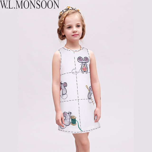 Princess Costume for Girls Dress 2017 Brand Cotton Kids Dresses Children Clothing Mouse Printed Robe Mariage Fille Girls Clothes