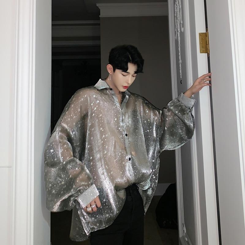 Men Bat Long Sleeve Star Transparent Oversize Loose Casual Shirts Male Streetwear Hip Hop Punk Gothic Party Night Club Shirt
