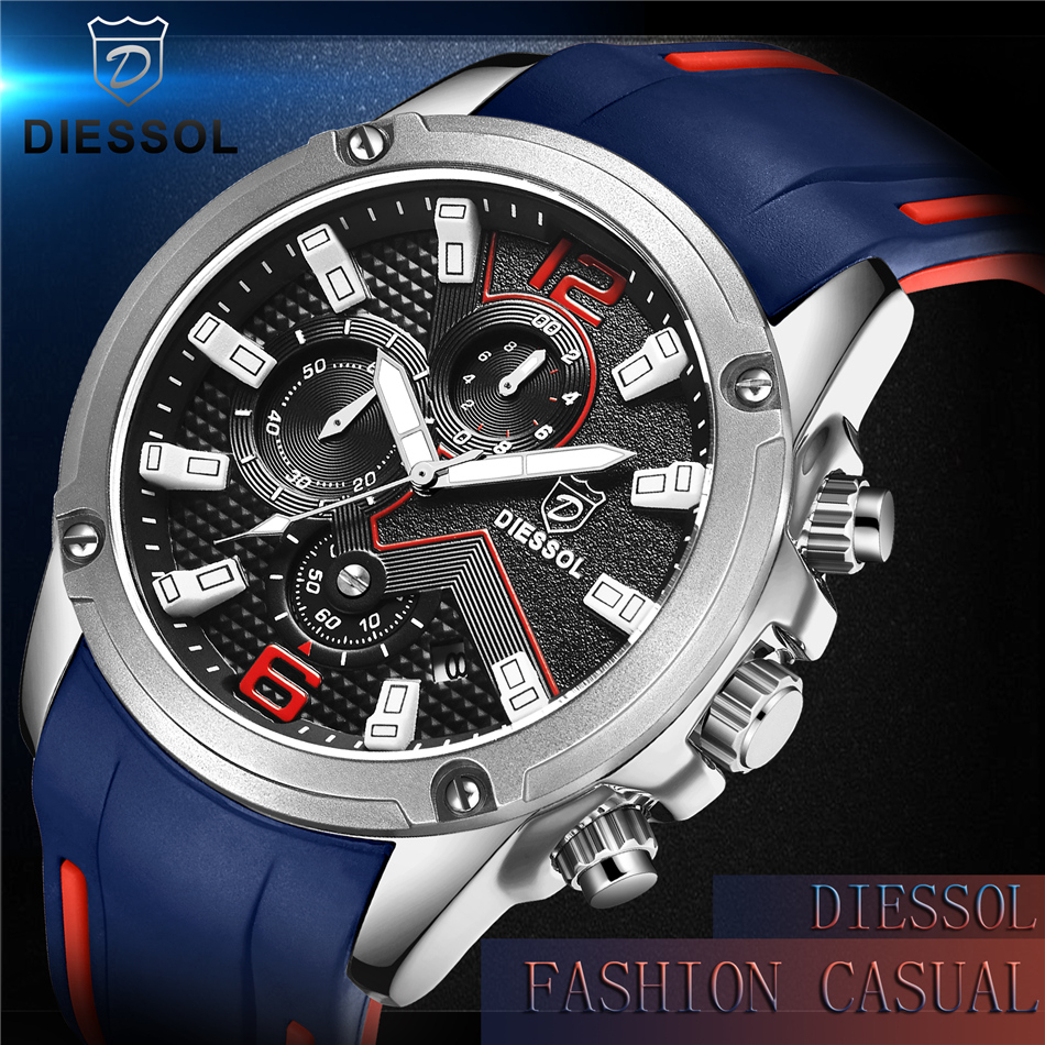 DIESSOL Men's Fashion Sports Quartz Watch Mens Watches Top Brand Luxury Rubber Band Waterproof Business Watch Relogio Masculino 7