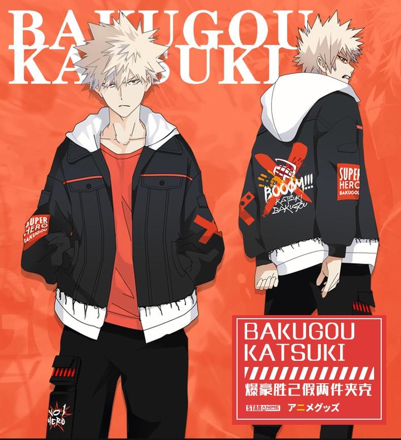 2019 Anime My Hero Academia Bakugou Katsuki Cosplay Costumes Women Men Cotton Hoodies Splice Sleeve Zipper Sweatshirts Coat-in Hoodies & Sweatshirts from Men's Clothing    1