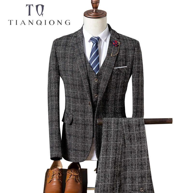 天原作メンズ結婚式のスーツ 2018 秋スリムフィット男ビジネススーツファッションプリント 3 ピース花婿の付添人スーツタキシードジャケット TQZ065