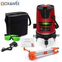 GOXAWEE 5 Laser Line 6 Points 360 Degree Laser Level Construction Building Tools Vertical Horizontal Rotary Cross 3D Laser Level