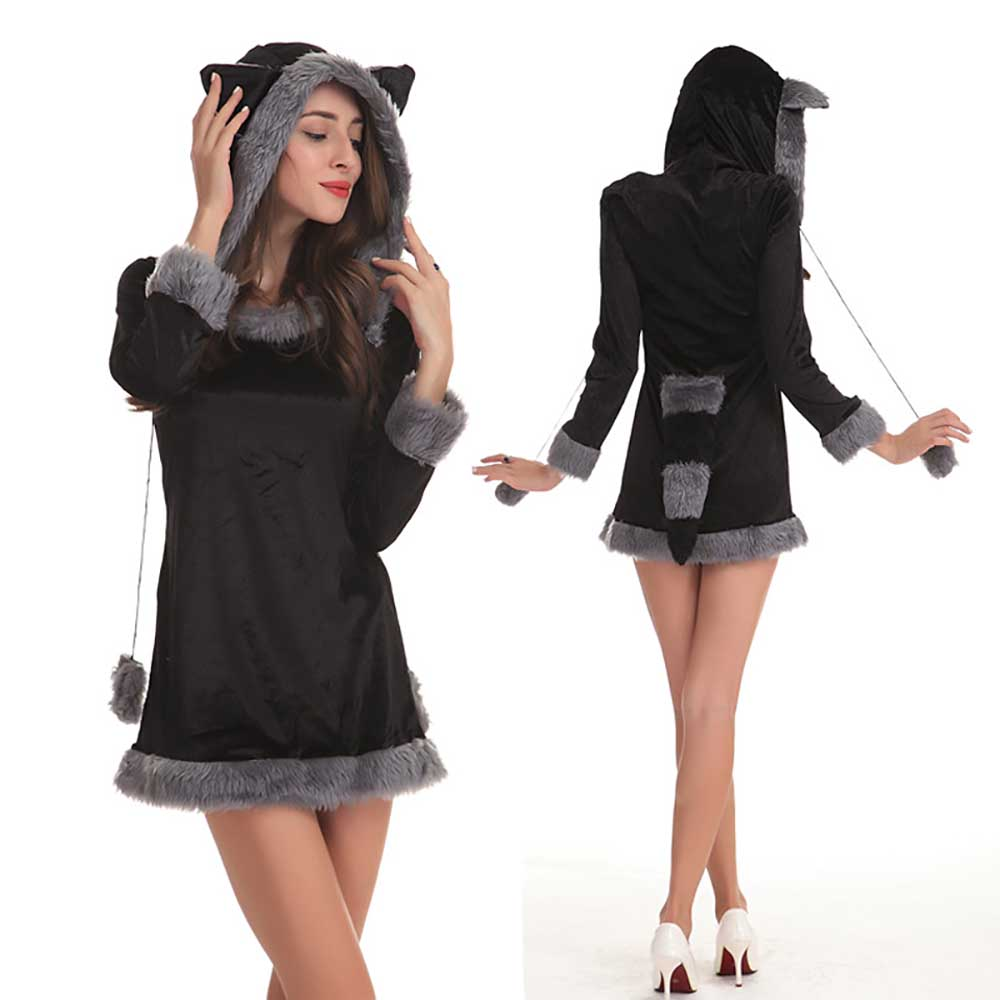 Flirty Furry Raccoon Costume Adult Women Sexy Animal Costume Thief Raccoon Cosplay Hoodie Dress with Tail Carnival Costumes