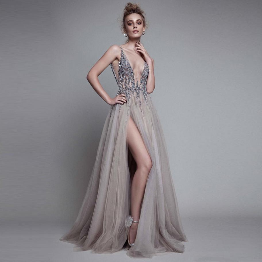 2018 fashion brand new banquet sexy dress bride toast clothing long paragraph sexy slim was thin host night club dress L798