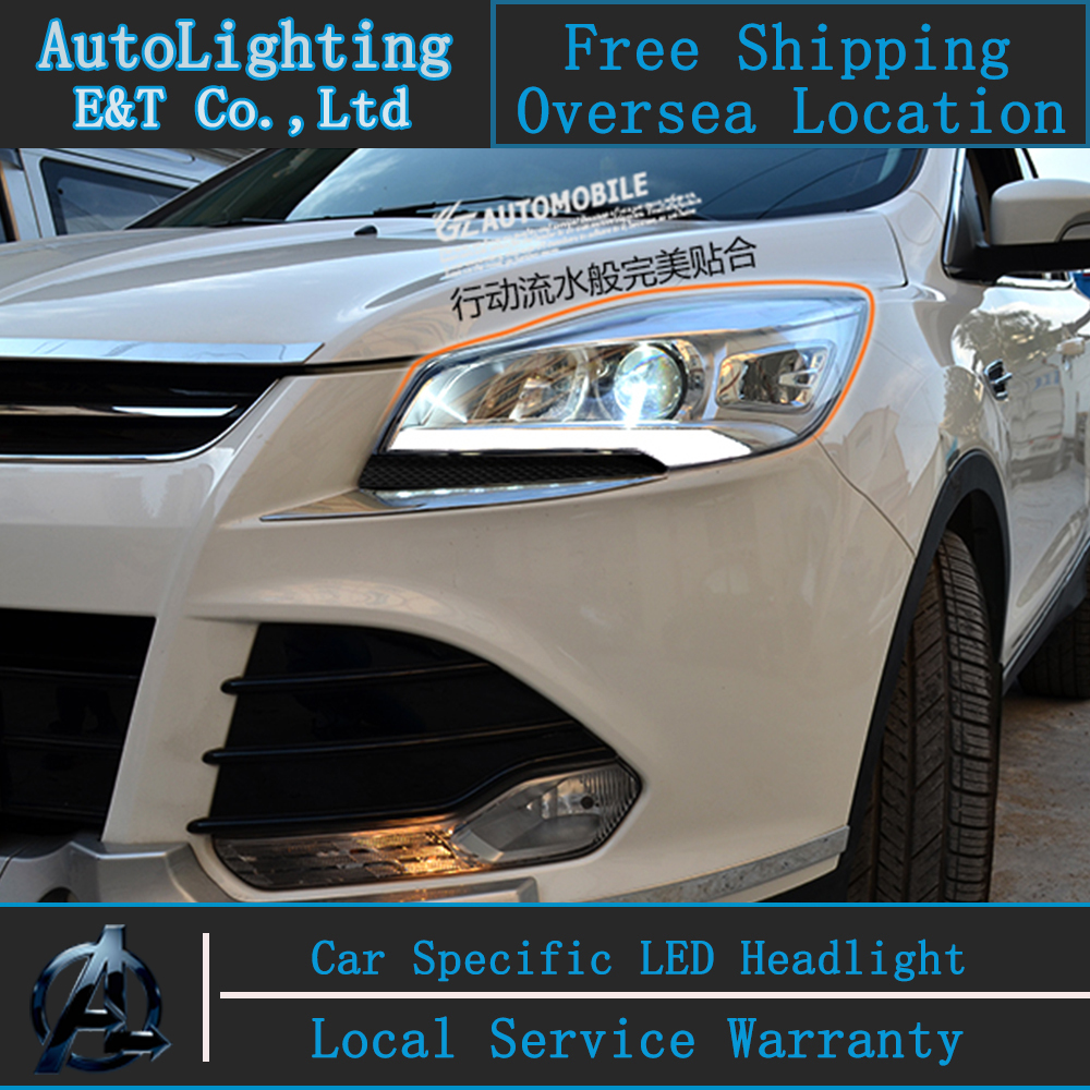 Car styling LED Head Lamp for Ford Kuga headlights 2013-2014 Escape led drl H7 hid Bi-Xenon Double Lens low with hid kit 2pcs. hireno headlamp for 2013 2015 ford kuga escape se headlight headlight assembly led drl angel lens double beam hid xenon 2pcs