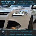 Estilo do carro faróis LED Head Lamp para Ford Kuga 2013-2014 fuga levou drl H7 escondeu Q5 Lente Bi-Xenon Duplo baixo feixe
