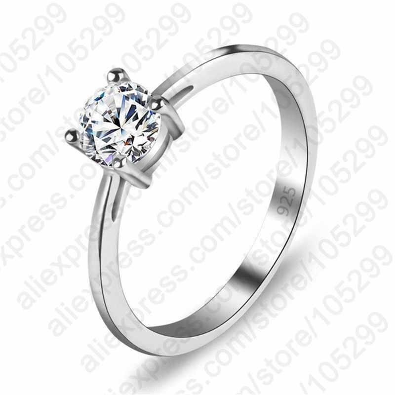 Alta Qualidade Estilos 3 AAA Cubic Zirconia 925 Sterling Silver Jewelry Anel de Noivado Clássico para As Mulheres Frete Grátis