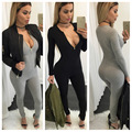 KL246 New skinny sexy deep V neck playsuit women casual fashion overalls long sleeve low cut jumpsuit