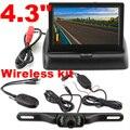 """4.3 """"dobrável Monitor a cores de Vídeo WI-FI Sem Fio câmera Traseira de estacionamento kit 12 v caminhão Do Carro de Backup Reversa Retrovisor Camera sistema"""