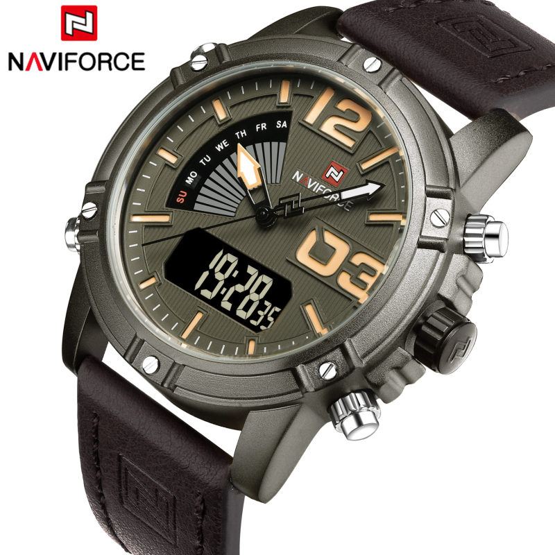 Luxury Brand NAVIFORCE Men Sport Watches Waterproof Led Quartz Clock Male Fashion Leather Military Wrist Watch Relogio Masculino genuine curren brand design leather military men cool fashion clock sport male gift wrist quartz business water resistant watch