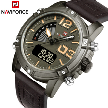 Luxury Brand NAVIFORCE Men Sport Watches Waterproof Led Quartz Clock Male Fashion Leather Military Wrist Watch Relogio Masculino
