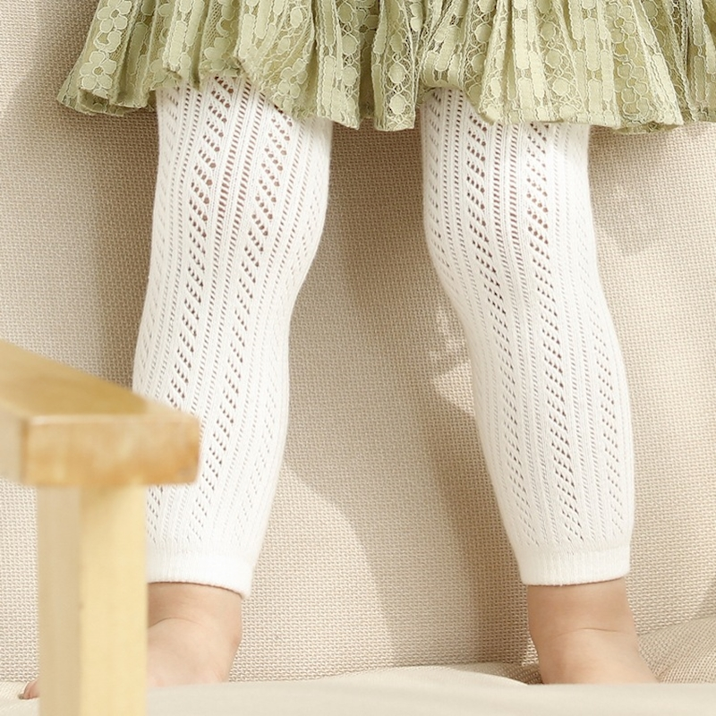 White Pink Cotton Baby Leggings Toddler Summer Hollow Out Kids Girls Pants & Capris Children Legging for 0-4 Years Bebe