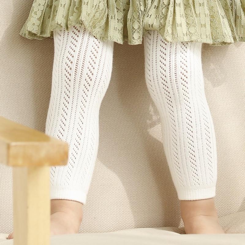 Blanco Rosa Algodón Bebé Leggings Niño Verano Hollow Out Kids - Ropa de ninos